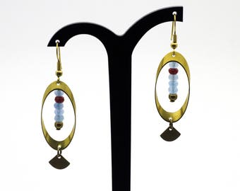 """Earrings """"Outlook"""" Oval brass and Maroon and blue Jade"""