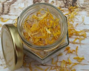 Organic Bath Salts, All Natural Bath Salt, Neem and Geranium Bath Soak, Natural Dye, Organic Essential Oils, Organic Flowers, Gifts for her.