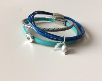 Mermaid Leather Bracelet - Sea Horse Pendant Leather Bracelet - Braided Leather Bracelet Set - Friend Gift - Valentines Gift for Her