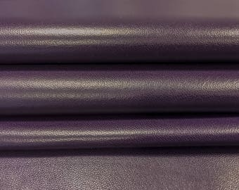 Dark Purple genuine leather fabric, purple natural sheep leather, grape natural lambskin, real leather material, Mysterioso, 416, 0.7 mm