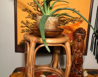 Vintage 1970s Rattan Bamboo Plant Stand, End Table or Foot Stool