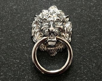 Lion Drawer Pull Knobs Dresser Drop Pulls Rings Shabby Chic Chrome Silver  Lion Head Door Knocker