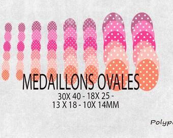 Images digitals cabochons oval retro vintage fuschia pink orange dots