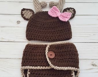 Newborn Deer Outfit Girl or Boy Crochet Deer Hat Deer Photo Prop Baby Shower Gift Newborn Gift Crochet Deer Diaper and Hat Crochet Baby Deer