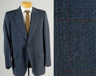 SALE Mens Vintage 70s Mod Blue Pinstripe Windowpane Jacket Sportcoat Wide Lapel 42  43