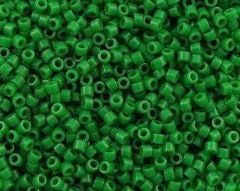 11/0 MIYUKI Delica DB-655 Dyed Opaque Kelly Green, 20 grams
