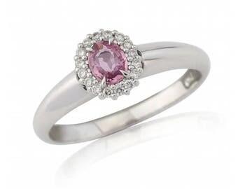 Pink Sapphire & Diamond Halo Ring