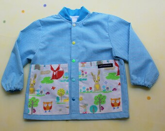 """BALOCCO Apron """"Jersey Click-Fancy"""" jersey collar and fantasy pockets-school and kindergarten-Waldorf/Montessori-for children/adults"""