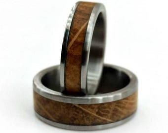 Whiskey Oak, Ring Set, Titanium Ring Set, Handmade Jewelry, Whiskey Barrel Ring, Oak Ring Set, Jack Daniel's Oak, Whiskey Love
