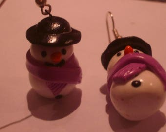 FANCY POLYMER CLAY SNOWMAN EARRINGS