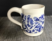 Blue Bird Design Handmade Wheel Thrown Ceramic Pottery White and Slightly Gray Swirled Stoneware Coffee Mug 15 oz Maple Leaf Ceramics Design