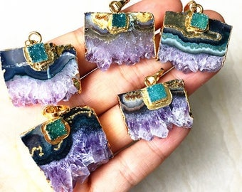 Nature Amethyst slice with Square Green Druzy Pendants with Electroplated Gold // Gold Amethyst Quartz Druzy Pendant Wholesale Price B5631