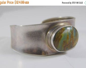 SALE Vintage Sterling Silver Cuff Bracelet Chunky Green Marble Stone Signed 925 large Size