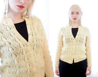 Vintage Soft light yellow classic hand knit cardigan sweater 1970s 70s