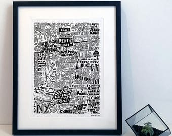The Evolutions of Rap Music / Hip Hop Typography Poster Print