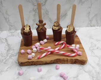 Belgian Hot Chocolate stirrer with marshmallows and gold glitter. Christmas. Festive design.