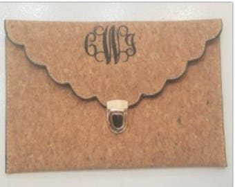 Cork Scalloped Clutch Bag   Personalized Embroidery Monogram