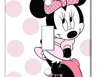 Minnie Mouse pink bow light switch cover // Personalized // SAME DAY SHIPPING**
