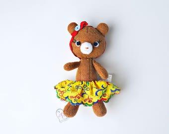Animal felt bear, dressed bear, felt toy, bear doll, felt bear doll, toy bear