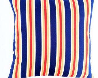 Striped Navy Blue, Red, Beige and Light Brown Invisible Zipper Pillow Cover-Throw Pillow, Cushion Cover, Couch Pillow Cover, Pillow Cover