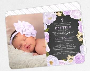 Photo Baptism Invitation, Christening Invitation, Girl Baptism Invitation, Printable, Watercolor Flowers, Chalkboard, PDF, Purple, Camilla