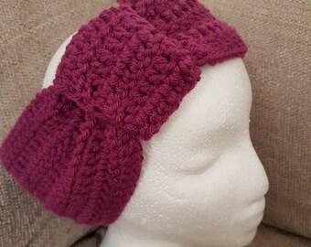 Crochet Headband. Earwarmer. Earmuffs. Burgundy