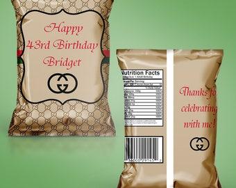 DIY Printable PDF Template Designer Themed Treat Bag Potato Chip Bag (READ before ordering)