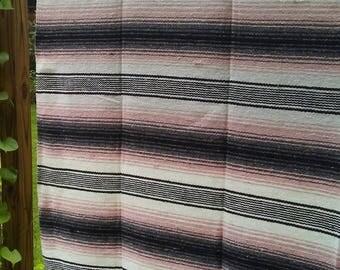"Decorative Serape Mexican Blanket-  Pink, Black, and Cream Color 74""L  x   52""W"