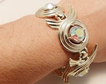 Silver Tone Sarah Coventry Aurora Borealis Vintage Rhinestone Bracelet