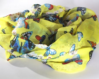 Womens scarves - Unique handmade scarves - Fashion scarves - Butterflies accessories - Animal print scarf - Butterfly scarves -Summer scarf