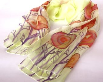 Women's scarves - Hand painted silk scarves - Natural silk scarf, - Silk scarves - Spring summer accessoires - Luxury scarf - Gift for her