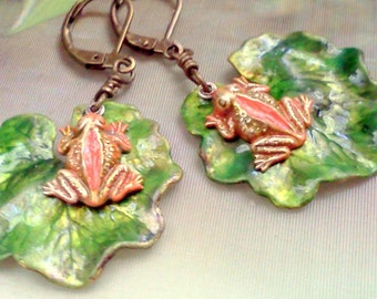 Frog Earrings, Hand Painted Frogs, Good Luck Frog Earrings, Frogs and Lilypad Earrings, Dangling Frog Earrings, Rustic Woodland Earrings
