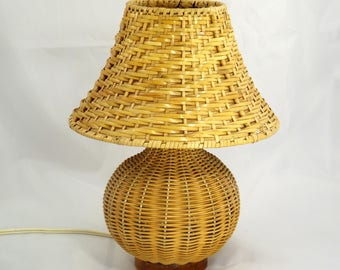 Wicker Table Lamp U0026 Lampshade, Lamp Base, Handmade MCM Lighting, 1950s, Lamp