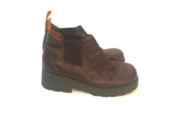 Vintage Brown Leather Chelsea Boots