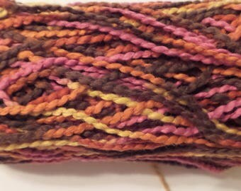 Mission Falls 1824 COTTON WHIRL Worsted Vegan Cotton Yarn  in Color Fall # 777 (Pink, Orange, Yellow, Brown)