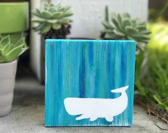 White Whale - Hand Painted - Acrylic Watercolor