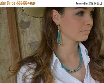 Clearance Sale Turquoise Leather Necklace,  Statement Necklace,Leather necklace,Silver Necklace,