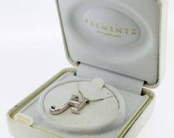 Vintage Krementz .925 Sterling Silver Necklace with Letter ' H ' Pendant