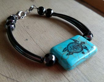 Bracelet - Turquoise Turtle with Metal Tubes