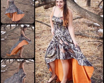 Camouflage Hunter Orange High-Low Dress