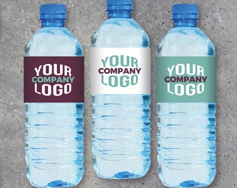 Logo Water Bottle Labels – Printable wraps featuring your company logo – Promotional giveaways, customer appreciation, DIY business gifts