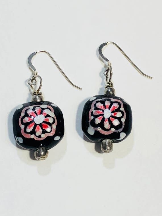 Square black pink white flower earrings with silver plated ear wires