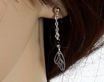Earrings chain Fine, butterfly wing bead Onyx Black, solid 925 sterling silver
