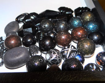 Assorted Mix of New  Acrylic Beads,  Black Assorted Sizes, Shapes and Color accents,  3 oz., 36 beads
