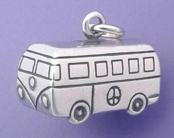 VW Bus .925 Sterling Silver Charm Hippie Van, Travel Trailer, Camper Pendant - d91136