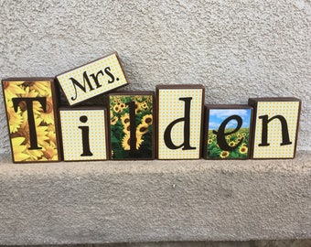 Teacher's Name blocks - sunflower themed