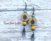 Wine Cork Earrings in Greens and Yellows