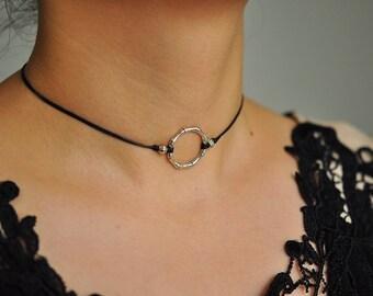 Silver Choker Necklace ,Circle Choker, Black Cord Necklace ,Dainty Choker Jewelry