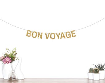 Bon Voyage Banner, Going Away Party, Retirement Banner, Moving Party, Farewell Party Banner, Good Luck Banner, Party Decorations, Gold