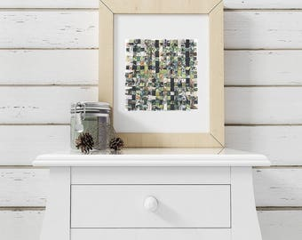 Watercolor Paper Weaving - Wedding Painting- Green, Black, White- Woven Paper- Abstract Art -10x10- Mat Frame Not Included